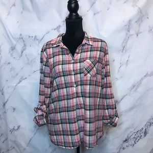 Prana Pink Henley Plaid Top